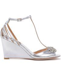 Badgley Mischka Milly-Ii Metallic Wedge Evening Shoes - Lyst