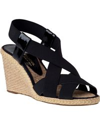 Andre Assous Josie Mid Wedge Espadrille Black Fabric - Lyst
