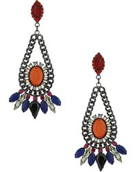 Topshop Chain and Stone Drop Earring - Lyst