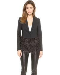 Tibi Feather Tuxedo Blazer - Black - Lyst