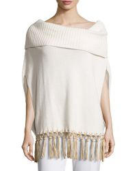 Agnona Boat-neck Knit Cape W/leather Fringe - Lyst