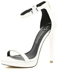 River Island White Platform Barely There Sandals - Lyst