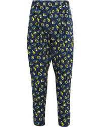 SUNO   Printed Stretch-silk Tapered Trousers   Lyst