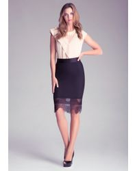 Bebe Lace Trim Power Mesh Skirt - Lyst