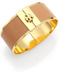 Tory Burch Skinny Leather Inlay Cuff Bracelet - Lyst