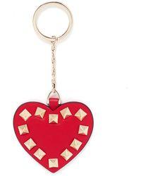 Valentino 'Rockstud' Leather Heart Keyring - Lyst