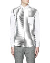 Tomorrowland | Stripe Knit Front Poplin Shirt | Lyst