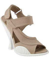 Prada Asymmetric Coneheel Sandals - Lyst