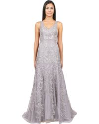 Sue Wong Open Back Beaded Gown - Lyst