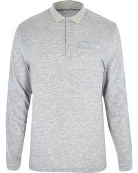 River Island Light Grey Long Sleeve Polo Shirt - Lyst