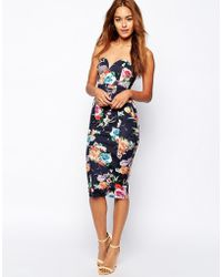 Oh My Love Digital Floral Bandeau Pencil Dress - Lyst