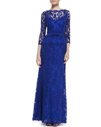 Tadashi Shoji 34-sleeve Lace Gown with Bow Belt - Lyst