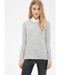 Forever 21 Marled Purl-Stitched Sweater - Lyst