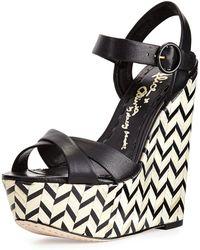 Alice + Olivia Sorell Leather Zigzag Wedge Sandal - Lyst