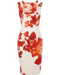 Karen Millen Oversize Floral Dress - Lyst