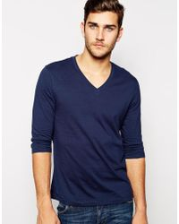 Asos 34 Sleeve Tshirt with V Neck - Lyst