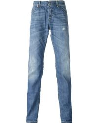 Dondup Blue Distressed Jeans - Lyst