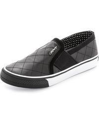 DKNY Barrow Quilted Slip On Sneakers - Black - Lyst