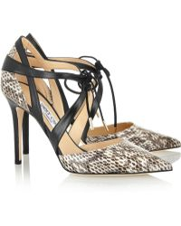 Jimmy Choo Lapris Elaphe And Leather Pumps - Lyst
