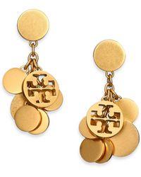 Tory Burch Logo Charm Cluster Drop Earrings - Lyst