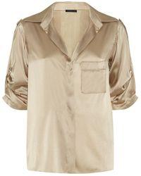 Donna Karan New York Roll Sleeve Contrast Back Shirt - Lyst