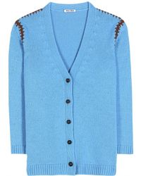 Miu Miu Knitted Cashmere Cardigan blue - Lyst