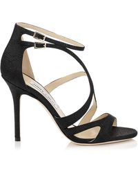 Jimmy Choo Ava Embellished Denim and Leather Mules - Lyst