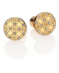 Michael Kors Heritage Monogram Logo Stud Earrings/Goldtone gold - Lyst