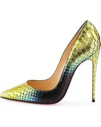 Christian Louboutin So Kate Python Mermaid Red Sole Pump - Lyst