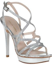 Pelle Moda Farah Evening Sandal Silver Leather - Lyst