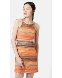 Topshop Crochet Lace Tunic Dress - Lyst