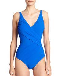 Gottex One-Piece Escape Surplice Swimsuit - Lyst