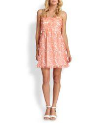 Shoshanna Strapless Coral Reef Chiffon Dress - Lyst