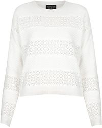 Topshop Lace Stripe Sweat - Lyst