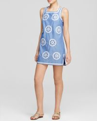 Tory Burch Embroidered Chambray Swim Cover Up Dress - Lyst