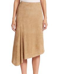 Lafayette 148 New York Chantee Asymmetrical Suede Skirt beige - Lyst