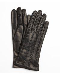 Portolano Black Leather Cross Stitched Gloves - Lyst