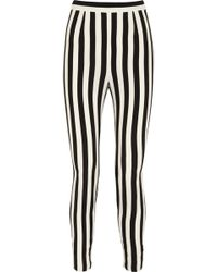 Dolce & Gabbana Striped Crepe Tapered Pants - Lyst