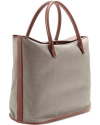The Row Carry All Canvas and Leather Tote - Lyst