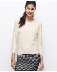 Ann Taylor Cable Sweater - Lyst