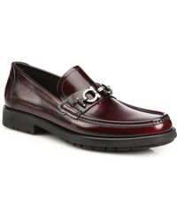 Ferragamo Leather Lug Sole Loafers - Lyst
