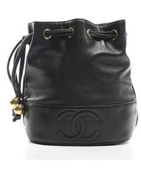Chanel Pre-Owned Vintage Lambskin Drawstring Bucket Bag black - Lyst