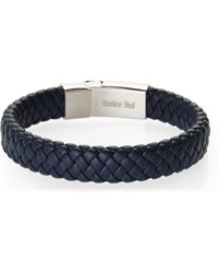 Blackjack - Navy Braided Leather Bracelet - Lyst