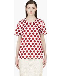 Burberry Prorsum Burgundy Polka Dot Scoop Neck Tshirt - Lyst