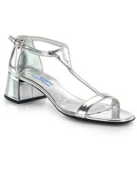 Prada Metallic Patent Leather Tstrap Sandals - Lyst