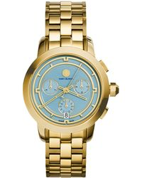 Tory Burch Tory Goldtone Stainless Steel Chronograph Bracelet Watch/Light Blue - Lyst