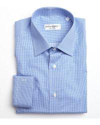 Saint Laurent Blue and White Mini Check Cotton Point Collar Dress Shirt - Lyst