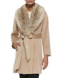 Sofia Cashmere Fur-Collar Wrap Coat beige - Lyst