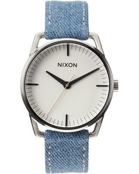 Nixon Washed Denim And Cream Watch Mellor - Lyst