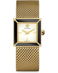 Tory Burch | Sawyer Enamel & Goldtone Stainless Steel Mesh Bracelet Watch | Lyst